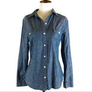 Old Navy classic chambray polkadot shirt